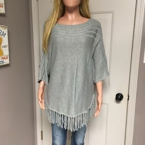 Gray shimmer fringe poncho sweater top